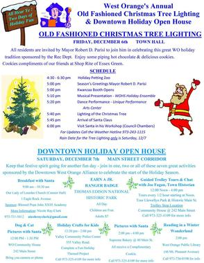 West Orange Tree Lighting Rescheduled for Saturday, December 7, photo 1