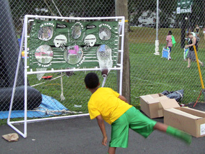 Football toss game at Fanwood's National Night Out