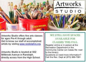 Randolph Artworks Studio Still Has Openings for Pre-K through Adult, photo 1