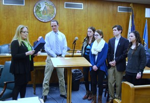 MHS Autism Awareness Club members receive proclamation from the Township