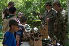 Vintage WWII weaponry display