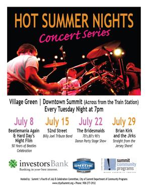 For more information the Hot Summer Nights Concert Series, visit www.cityofsummit.org/recreation