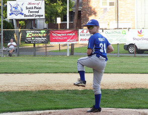 Aidan Mooney on the hill for 10U at Booth Field