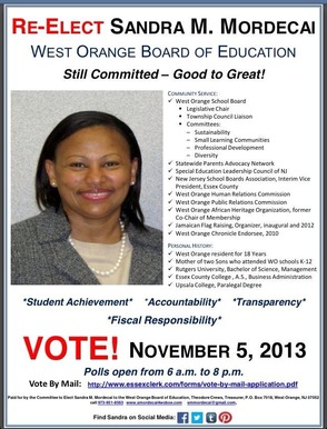 Sandra Mordecai for West Orange Board of Education, photo 1