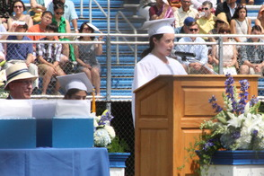 MHS Class President Ashley Dasti addresses the students