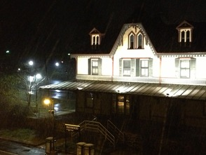 Snow at the Fanwood Train Station on April 15