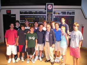 Bruce Beck & Ian Eagle Sports Broadcasting Campers pictured with Baseball Legend Yogi Berra