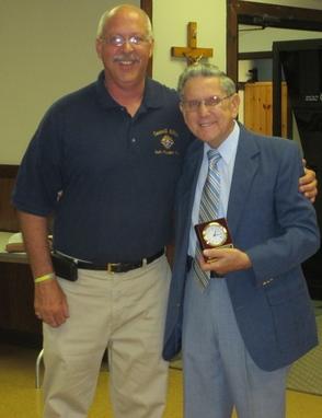 Past Grand Knight Brian Cargill Presents Grand Knight Award to Joe Bielinski, photo 1