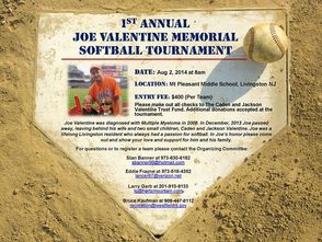 First Annual Joe Valentine Memorial Softball Tournament Banner