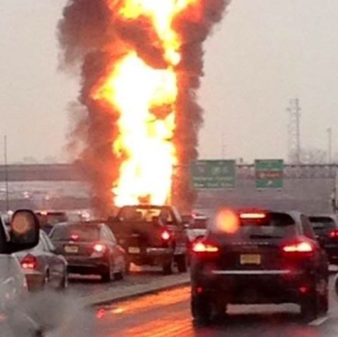 Car fire on garden state parkway nj
