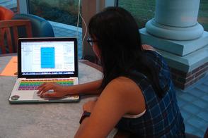 Lena Rajan shows her weather app