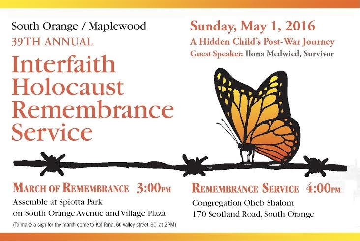 39th Annual South Orange/Maplewood Interfaith Holocaust Remembrance Service to be Held Sunday, May 1