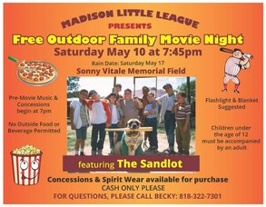Madison Little League's Family Movie Night Slated for Saturday, May 10, photo 1