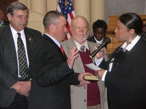 Parker Space sworn in as Assemblyman.