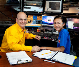 Dan and Daughter at Editing Desk