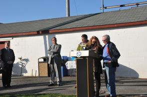 Mayor Sandra Diglio presents Thomas Trudgeon with an award.