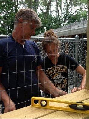 Olivia Bednash builds cat enclosure at the Montville Animal Shelter