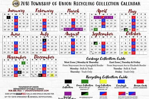 Township Calendar With Recycling Schedule To Be Sent Union Homes Next Week Tapinto
