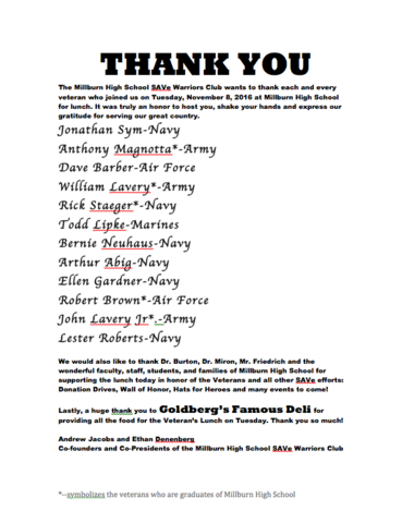 writing a thank you note to veterans