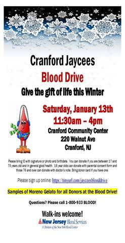 Cranford Jaycees to Hold Winter Blood Drive - TAPinto