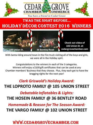 Cedar Grove Chamber Of Commerce Announced Holiday Lights Contest Winners News Tapinto
