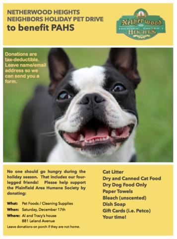 Netherwood Heights Neighbors Holiday Pet Drive North Plainfield Green Brook Watchung Nj News