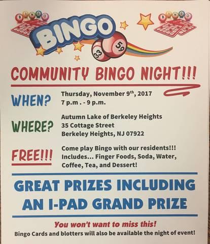 Community Bingo Night At Autumn Lake Healthcare Of