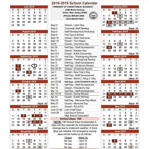 New Hanover County School Calendar.Township Of Union 2018 2019 School Calendar Tapinto