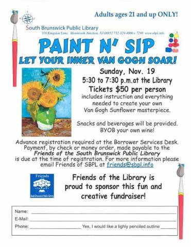 paint n 39 sip on nov 19 at sbpl south brunswick cranbury