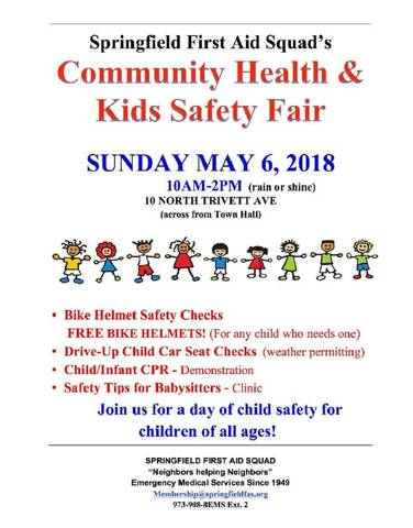 Springfield First Aid Squad Presents 'A Community Health and Kids Safety  Fair' on May 6 | TAPinto