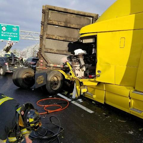 Union firefighters extricate driver from rt 78 truck for Motor vehicle new brunswick nj