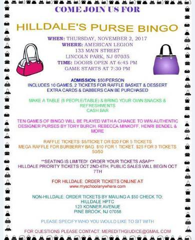 0ffb00e41e Hilldale Announces Purse Bingo Fundraiser