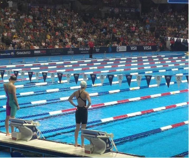 baldwin on the starting block for 100 backstroke preliminaries at the 2016 team usa olympic swim trials credits abby fisher
