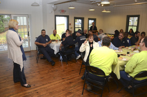 Fanwood staff and volunteers enjoy lunch hosted by Mayor Colleen Mahr, a thank you for their work a year ago following Sandy