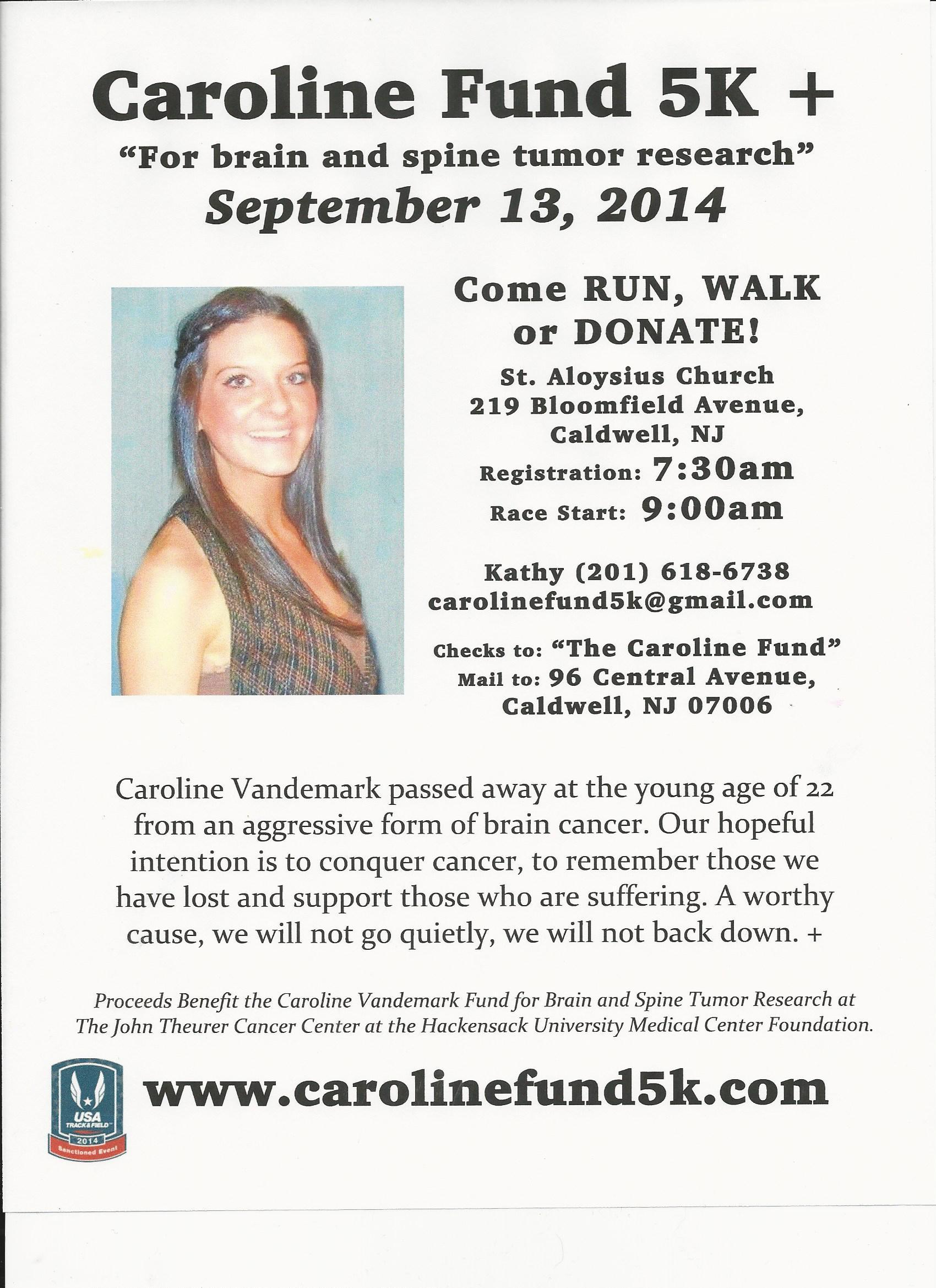 Caroline Vandemark Lives On at First Annual Caroline Fund 5K Set for September 13