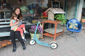 Amy Hughes with daughter, Vivienne, 4, at Salvage Style in Maplewood