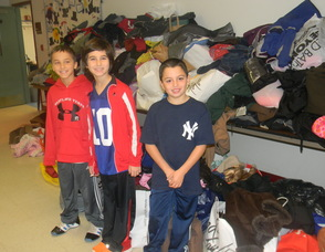 Students in front of the donated coats