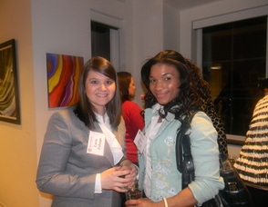Julia Gibson (right) who is on the board of the Arts Council with an attendee
