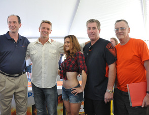 Kristen Schulman, Daisy Duke Look-a-like with John Schneider, Claude Jaillet, and the judges.
