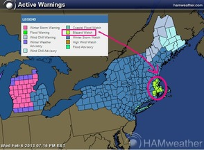 Map of anticipated storm.