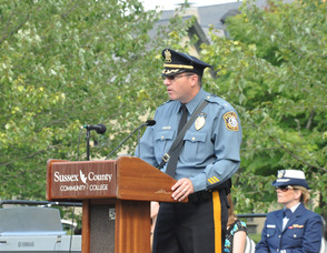 Town of Newton Police Chief Michael Richards speaks.