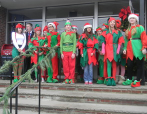Santa with the elves