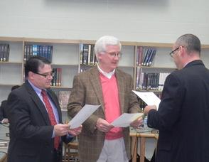 Councilmen Robert Dinerman and William Dibble being sworn in