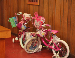 Two bicycles ready to be delivered during Operation Santa.