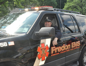 Fredon Mayor, Carl Lazzaro, drives the Fredon Township ambulance.