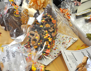 Thanksgiving treats, including the custom-filled chocolate cornucopia for Thanksgiving.