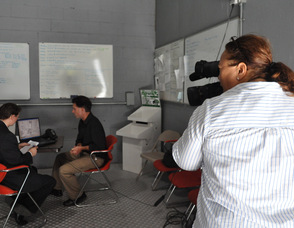 Zaida Collazo films Samuel K. Burlum, and Brian Thomas.