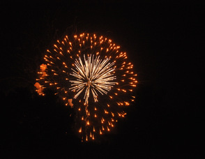 The fireworks display as seen by the former Stop & Shop parking lot.