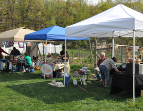 Some of the vendors lined up along the farm's property.