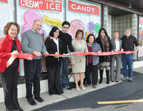 The ribbon cutting for Grammy's, from left to right: Eileen Diehl from Lakeland Bank, Frankford Township Mayor Gary Larson, Pat Halligan-Kissel owner, Cody Halligan, Tammie Horsfield President of The Sussex County Chamber of Commerce, Rose Marie Paolucci of Val Pak, Gabrielle Gudd of The New Jersey Herald, Linda Barry Member Services Coordinator of the Sussex County Chamber of Commerce, and Don Hall from The Chatterbox.